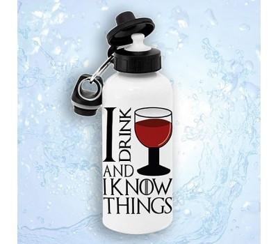 """Бутылка для воды """"Я пью вино и всё знаю"""""""