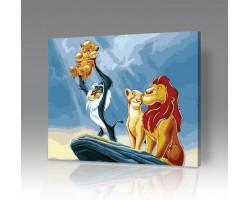Картина по номерам на холсте Король Лев - Рождение Симбы