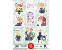 """Набор бумажных наклеек №75 """"горничная-дракон Кабояши"""""""